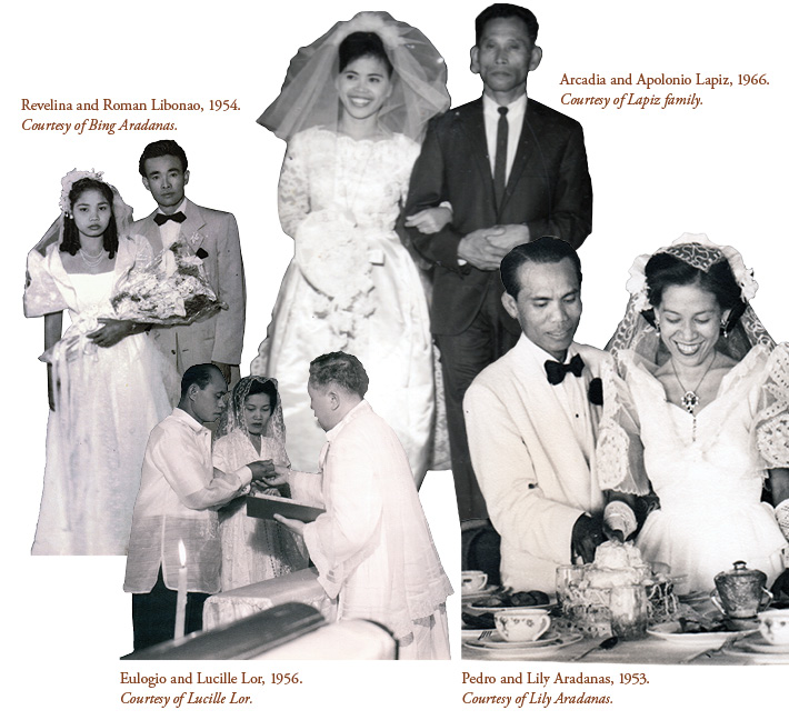 Weddings of Revelina and Roman Libanao (1954), Eulogio and Lucille Lor (1956), Arcadia and Apolonio Lapiz (1966), and Pedro and Lilly Aradanas (1953).