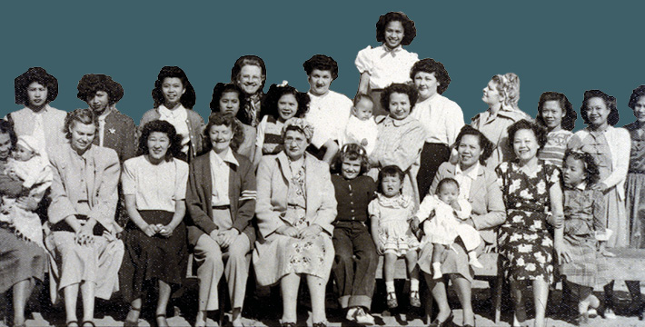 Portrait of the women at the christening party for Lilia and Luisa, Benito and Lilia Betita's twins. Arroyo Grande, CA, 1948.